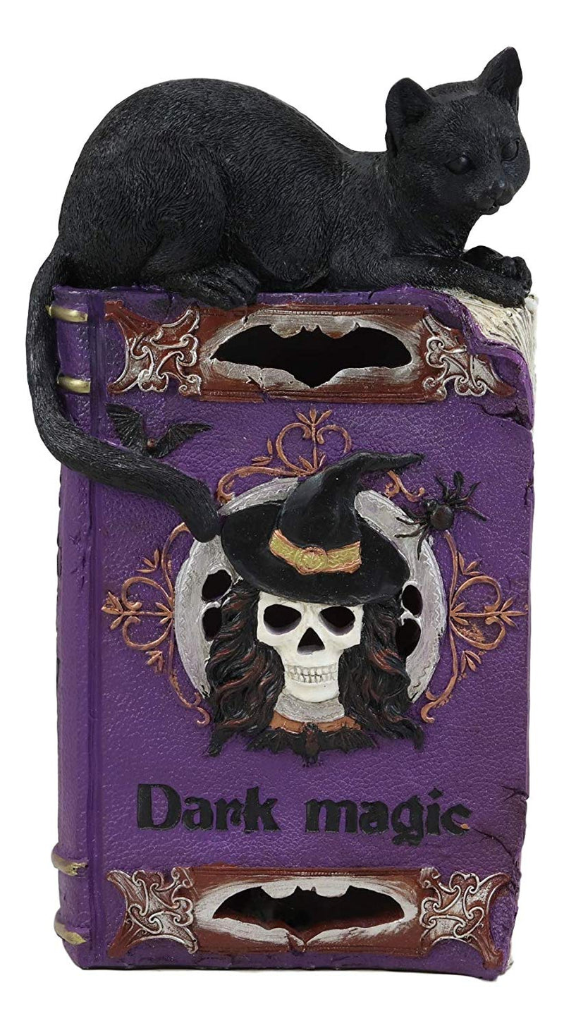 "Ebros Witchcraft Sorcery Dark Magic Black Mystical Cat Perching On Purple Book of Spells Figurine with Colorful LED Lights Halloween Skeleton Witch Skull Vampire Bat Decor Sculpture Statue 12"" Tall"
