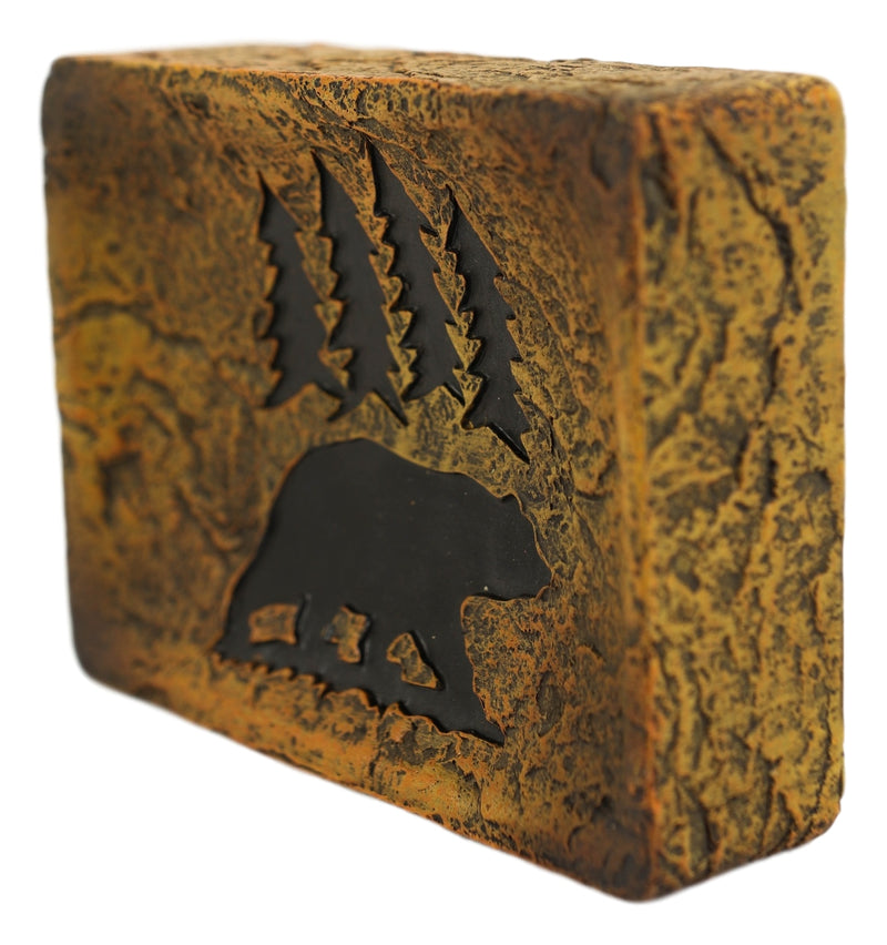 Rustic Western Black Bear By Pine Trees Forest Silhouette Bar Soap Dish Holder