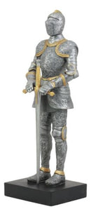 "Ebros El Cavaliere Italian Knight with Long Sword Statue 13"" Tall Suit of Armor Swordsman Medieval Knight Figurine Age of Kings"
