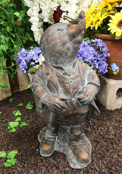 "Ebros Gift Large Whimsical Hardworking Professor Mole With Glasses Garden Statue 21"" Tall Hand Painted Resin In Aged Bronze Finish Rustic Fairy Tale Moles Patio Pool Lawn Outdoors Decorative Sculpture"
