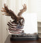 "Bald Eagle With Open Wings On American Flag 4""X6"" Glass Picture Frame Statue"