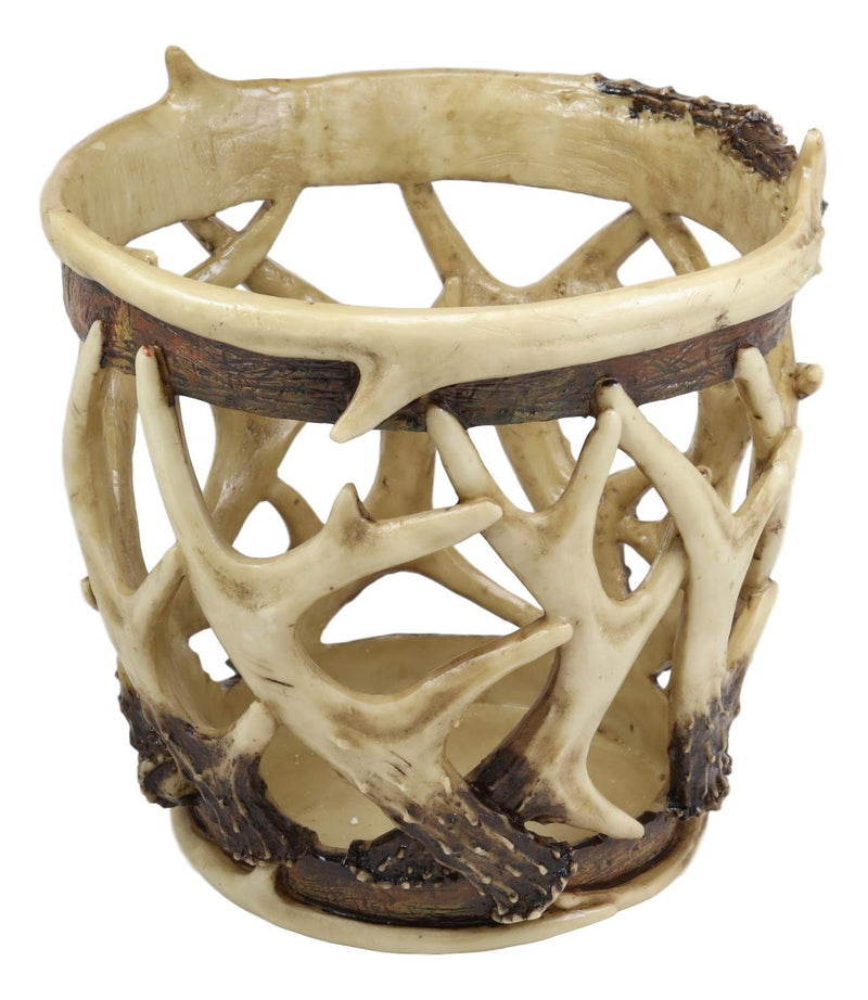 "Ebros Wildlife Rustic Buck Elk Deer Stag Entwined Antlers Dry Waste Basket Bin Trash Can Bucket 9"" High Nature Lovers Hunters Cabin Lodge Country Home And Office Decorative Accent"