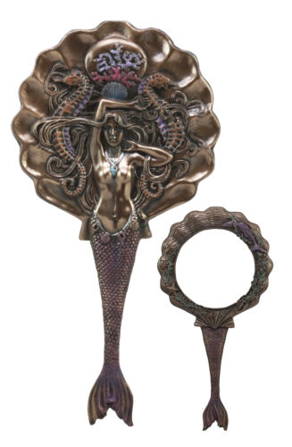 "Art Nouveau Sirens of The Seas Mermaid With Seahorses Hand Mirror Figurine 11""H - Atlantic Collectibles"