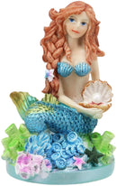 "Ebros 4.5"" Tall Colorful Nautical Ocean Mermaid Mergirl with Pearl Shell and Blue Tail Sitting On Corals Statue Under The Sea Fantasy Mermaids Mergirls Sirens of The Seas Figurines - Ebros Gift"