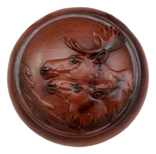 "Ebros Faux Wood Bull Moose with Calf Rounded Jewelry Trinket Decorative Box Figurine 4.5"" D Decor Storage of Deers Bucks Mooses Game Hunt Theme"