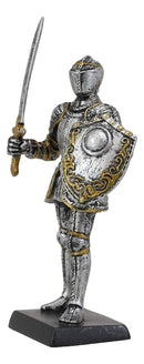 "Ebros Gift Renaissance Medieval Royal Knight with Long Sword and Large Shield Figurine 5"" H Suit of Armor Dollhouse Miniature Knights Sculpture Decor European Empire War Soldier Statue"