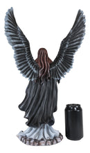 Gothic Black Shadow Winged Angel Goddess With Raven Crow Figurine Death Gallows