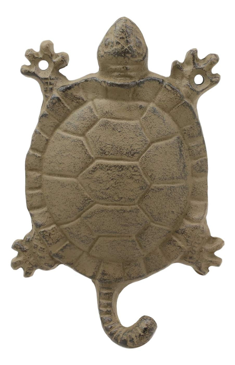 "Ebros Gift 5.75"" Tall Nautical Ocean Sea Turtle Cast Iron Rustic Wall Coat Keys Leashes Hats (2)"