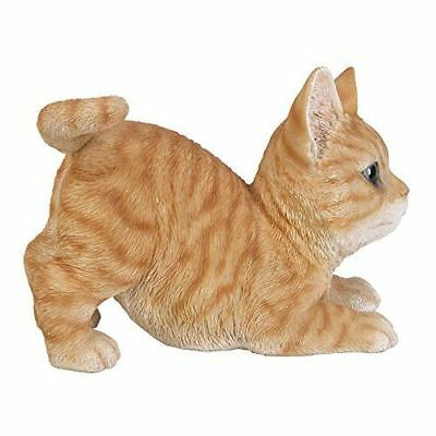 "Realistic and Playful Orange Tabby Kitten Collectible Figurine 8"" Tall Cat"