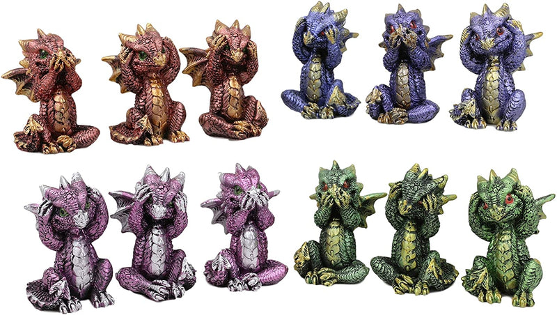 Ebros Baby Dragons in See Hear Speak No Evil Poses Miniature Figurines Set of 12