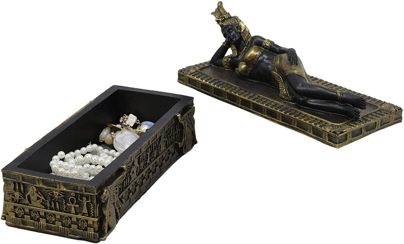 "Ebros 8"" Long Ancient Egyptian Queen Cleopatra in Repose Decorative Jewelry Box"