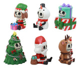 Ebros Limited Edition Christmas Furry Bones Figurine Set of 6 Furrybones Reindeer Rudolph Christmas Tree Elf Santa Snowman Wrapped Gift Boxes Skeleton Decor Statue for Halloween Holiday Season