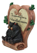 "Ebros Black Bear Couple Under Heart Shaped Willow Tree Figurine Love Without Measure 6.75"" Tall Forest Animal Love Tale for Anniversary Or Valentine's Day Decor Statue"