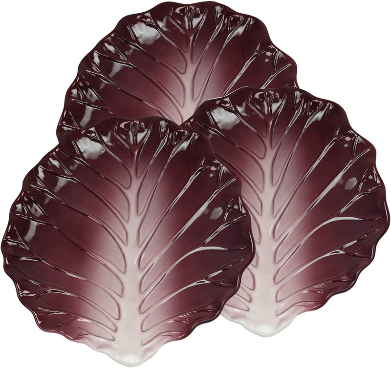 "Ebros 12""W Ceramic Red Lettuce Shaped Serving Plate or Dish Platter (SET OF 3) - Ebros Gift"