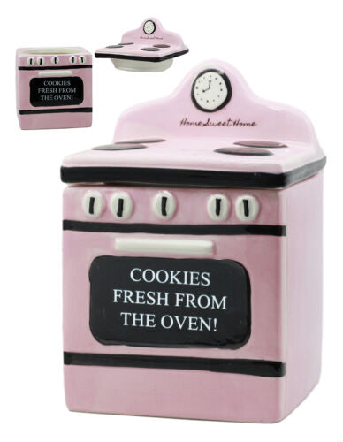 Ceramic Vintage Pink Oven Cookie Jar With Seal Tight Lid Old Fashioned Retro