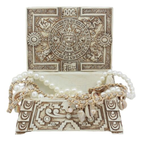 Aztec Maya Lunar And Solar Sun Gods Mesoamerican Calendar Jewelry Box Figurine - Atlantic Collectibles