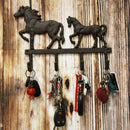 "Ebros Cast Iron Rustic Western Country Farm Horse With Foal Coat Key Hat Leash Backpack Wall Hanging Hooks 13"" Wide 4 Peg Hook Decor Hangers Cowboy Decorative Organizer"