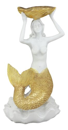 "Ebros Art Nouveau Mermaid Holding Sea Shell Candle Or Jewelry Holder Decor Figurine 10.25"" Tall"