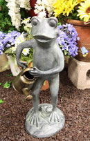 "Ebros Gift 19"" Tall Aluminum Metal Green Thumb Whimsical Gardening Frog with Watering Can Garden Statue Frogs Spring Summer Pastime Patio Pool Pond Lawn Yard Decorative Rustic Sculpture Accent"