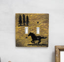 Set of 2 Western Horse And Pine Trees Silhouette Wall Double Toggle Switch Plate