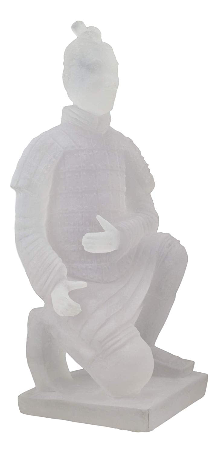 "Ebros Ancient Chinese Qin Dynasty Emperor Kneeling Terracotta Army Foot Soldier Warrior Statue 12.75"" Tall Acrylic Resin Antique Reproduction Historical Decor Figurine"