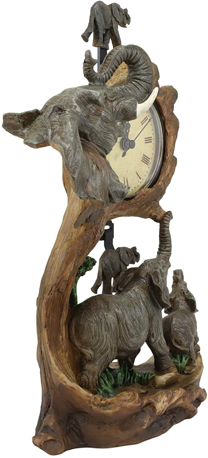 "Ebros Elephant Father and Calf Family Table Clock with Pendulum 10.5"" Height"