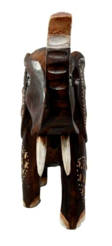 "Balinese Wood Handicrafts Safari Jungle Elephant With Trunk Up Figurine 10""H"