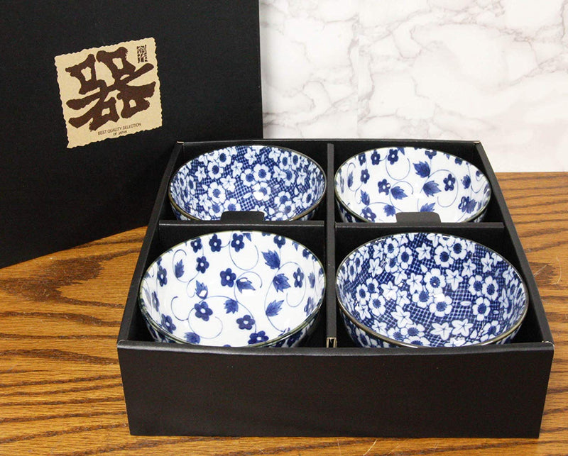 Blue Zen Table Japan Traditional Japanese 4 Condiment Dishes Made in Japan 6 Piece Set