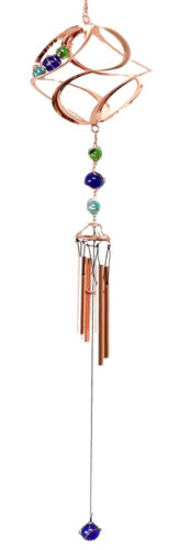 "Ebros Gift Caterpillar In Twisting Spiral Copper Metal Wind Chime With Colorful Marbles 31""Long Resonant Outdoor Patio Garden Decor Accessory"