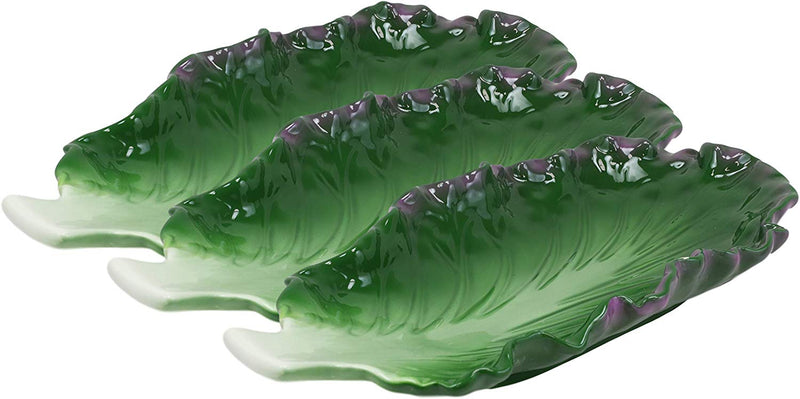 "Ebros 12""L Ceramic Fresh Hearty Red Leaf Lettuce Shaped Serving Plate SET OF 3 - Ebros Gift"