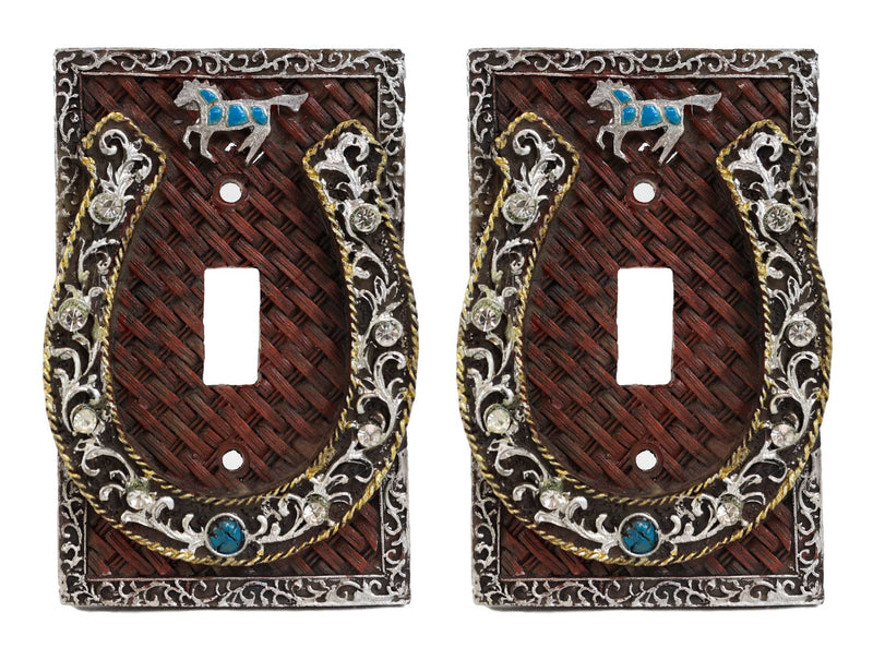 Set of 2 Western Horseshoe Turquoise Mustang Wall Single Toggle Switch Plate