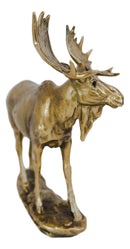"Realistic Large Bull Moose Statue In Gold Patina 11"" W Rustic Elk Deer Accent"