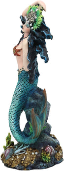 "Ebros 11"" Tall Colorful Nautical Ocean Turquoise Mermaid Pearl Crown Princess by Sunken Treasure Trove Statue Under The Sea Fantasy Mermaids Mergirls Sirens Figurines Decorative Home Accent - Ebros Gift"