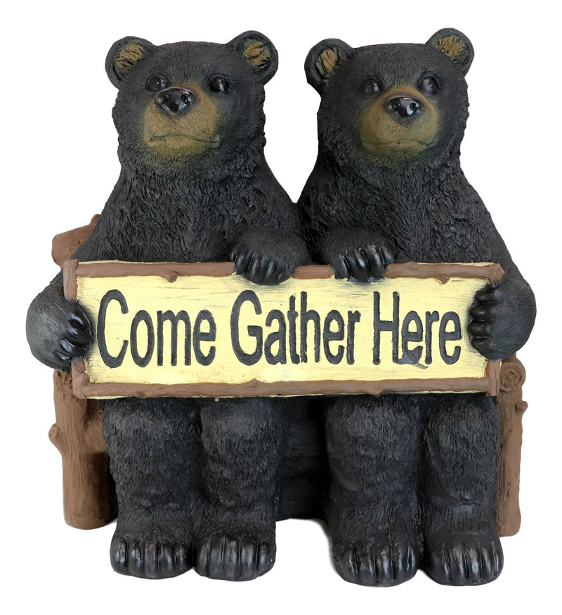 "Large 21""L Rustic Forest Twin Black Bears On Park Bench Holding Sign Statue"