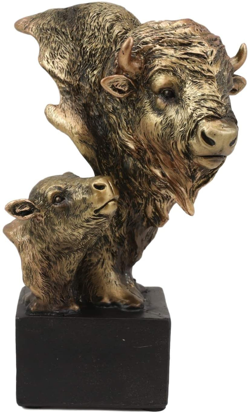 "Ebros Gift 6"" Tall Wild Bison and Calf Head Bust Figurine with Black Pedestal"