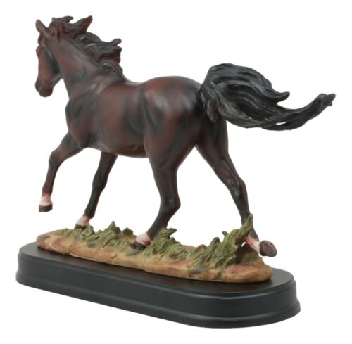 "Equestrian Dark Brown Horse Galloping On Wild Pasture Statue With Base 9.25""Long"