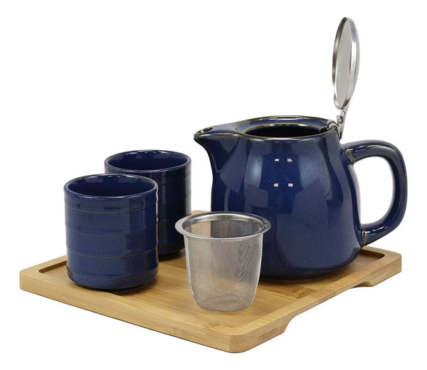 Ebros Gift Colorful Navy Blue Contemporary Ceramic Double Walled 20 fl oz Tea Pot With 2 Matching Mugs And Bamboo Accent Serving Tray As Kitchen Dining Home Decor Novelty Teapot Sets