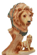 "Ebros African Savanna Safari Lion Statue 9.25"" Tall Lion King Pride Rock Lion Family Faux Wood Resin Figurine"