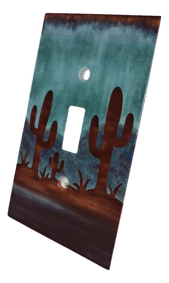 Pack of 2 Southwestern Desert Cactus Single Toggle Switch Wall Electrical Plate