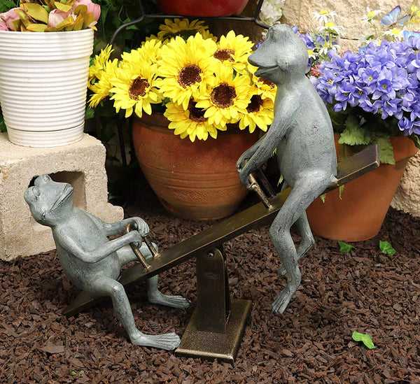 "Ebros Large Aluminum Father and Son Frogs On Seesaw Garden Statue 21"" Long"