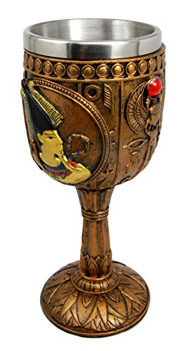 "Ebros Egyptian Osiris Wine Goblet in Hieroglyphic Design 6oz 7"" Tall"