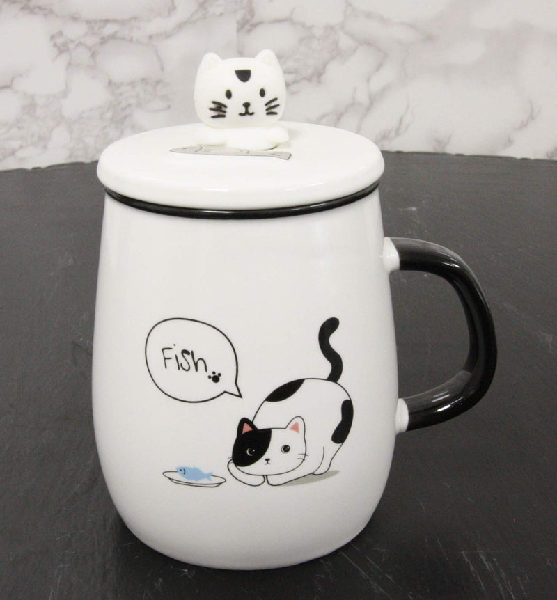 Hungry Calico Cat With Fish Porcelain Coffee Tea Mug Cup With Spoon And Lid