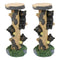 Rustic Climbing Bear Cubs With Bee Hives Pillar Candle Holder Stand Set Of 2