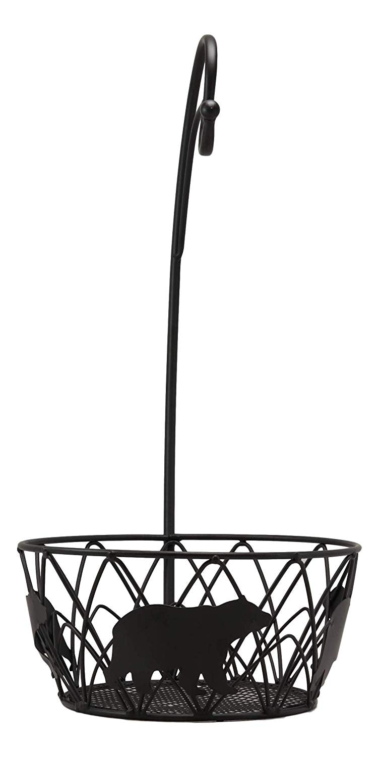 "Ebros 19"" Tall Rustic Western Bear Themed Metal Banana Grapes Rack Hook Holder And Basket Bowl - Ebros Gift"
