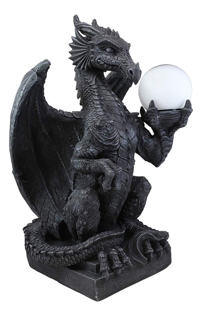 "Ebros Crouching Dragon On Pedestal Side Table Floor Ball Globe Lamp Statue 20"" H"
