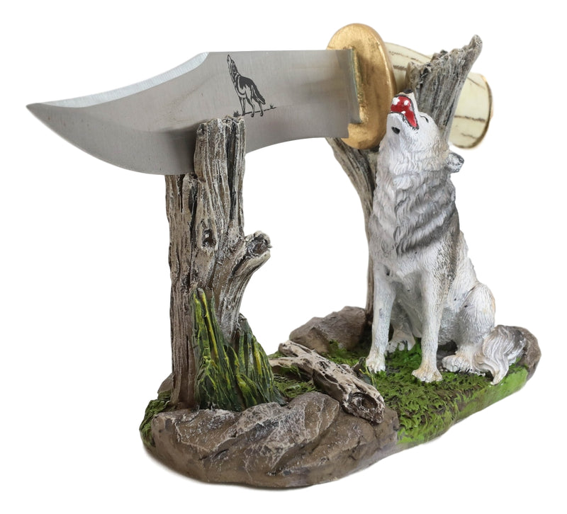 Rustic Forest Howling Gray Wolf Display With Decorative Dagger Knife Statue Set