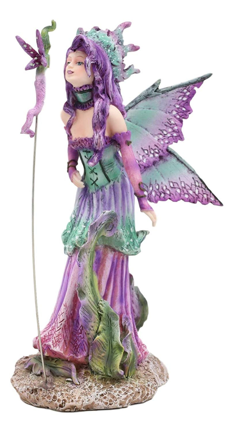 "Ebros Amy Brown Pixie Gossip Enchanted Elf Fairy FAE Damsel with Indigo Purple Nymph Dragonfly Statue 7.5"" Tall Fantasy Mythical Faery Garden Magic Collectible Figurine Fairies Pixies Nymphs Decor"