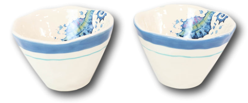 Nautical Blue And White Seahorse Cereal Small Rice Soup Ceramic Bowls Pack Of 2