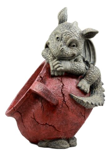 "Naughty Climbing Dragon Baby Planter Pot Home Patio Garden Decor Statue 13""H"