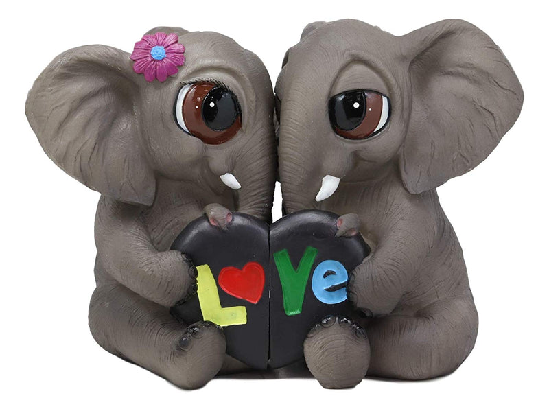 "Ebros Whimsical Jungle Love is in The Air Lucky Elephant Couple Figurines 2 Parts Set 7.25"" Wide"